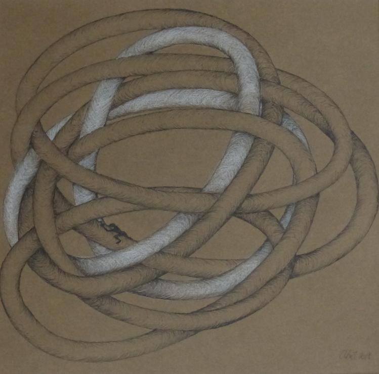 Fineliner und Buntstift auf Papier, 25 x 25 cm
