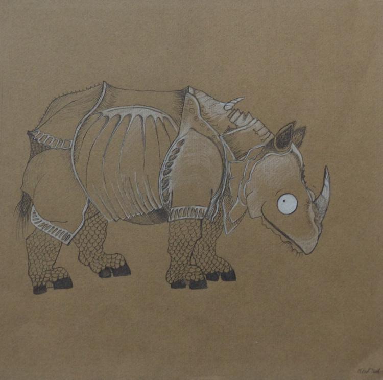 Buntstift auf Papier, 25 x 25 cm